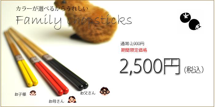 2017箸の日キャンペーン 家族箸 竹箸色彩