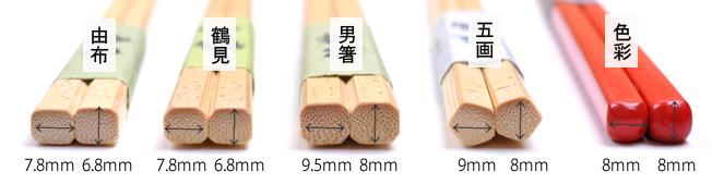 竹箸、箸頭の違い