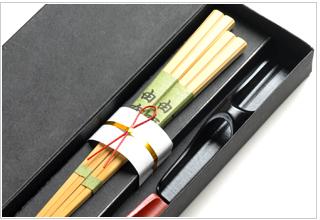 夫婦箸 竹箸由布と箸休め 箸セット すべらない箸